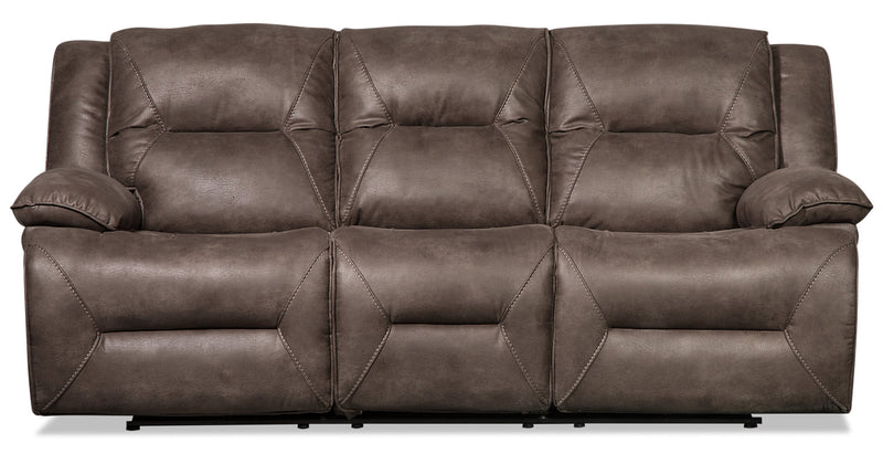 Lawson Faux Suede Power Reclining Sofa - Grey - {Contemporary} style Sofa in Grey {Plywood}, {Solid Woods}