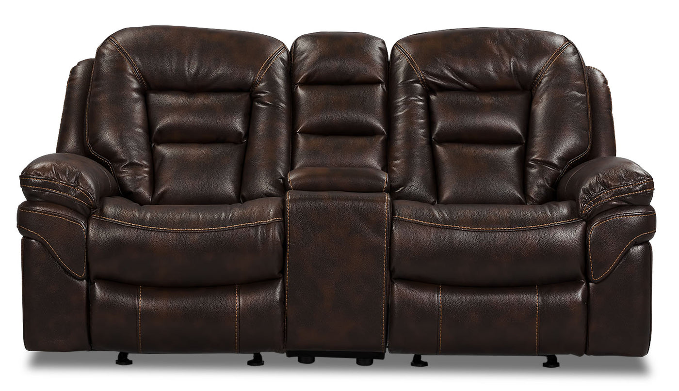 Excellent Leo Leathaire Reclining Loveseat Walnut Ibusinesslaw Wood Chair Design Ideas Ibusinesslaworg