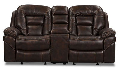 Leo Leathaire Reclining Loveseat - Walnut - Contemporary style Loveseat in Walnut