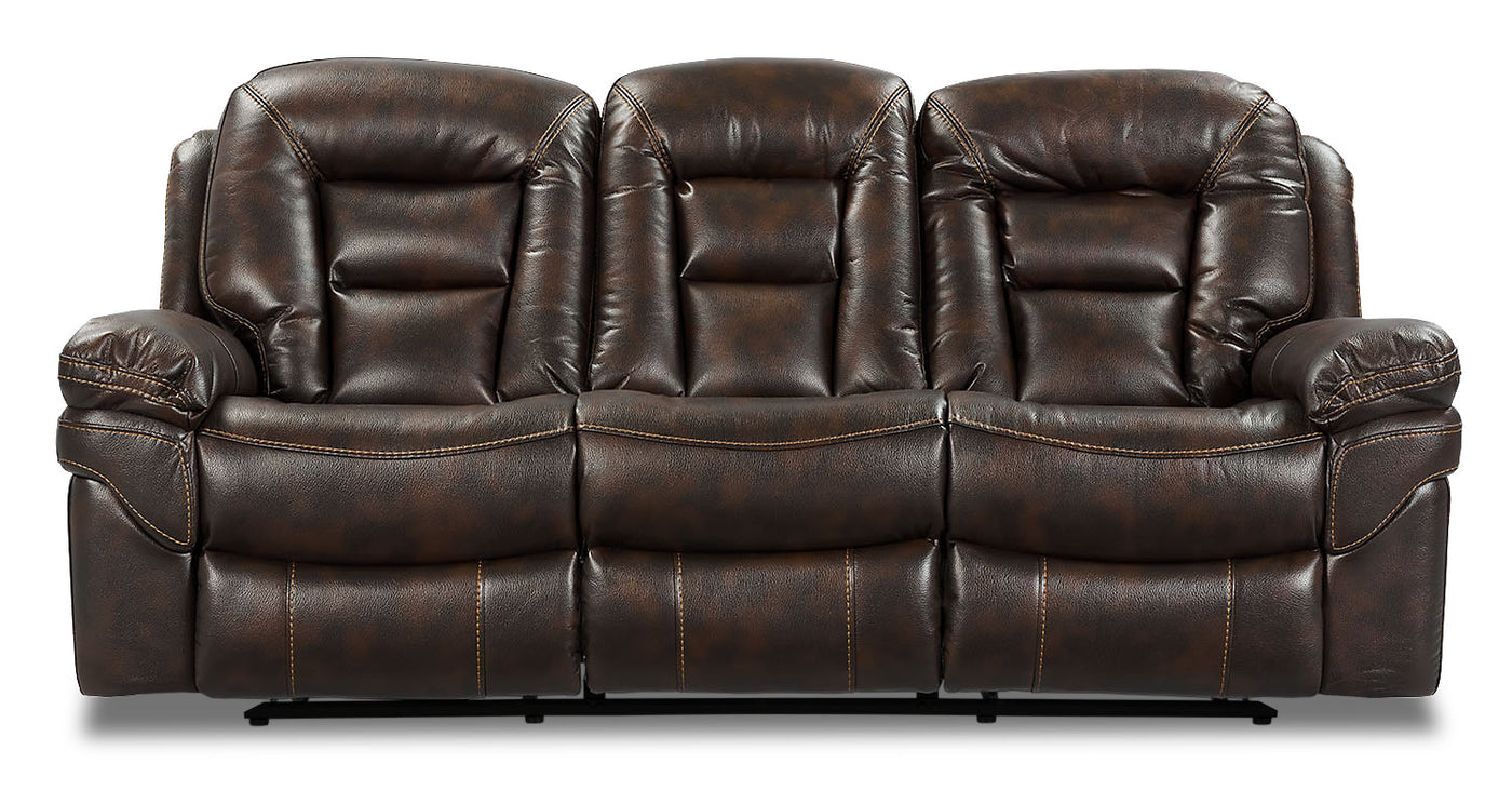 Picture of: Leo Leath Aire Fabric Dual Reclining Sofa Walnut The Brick