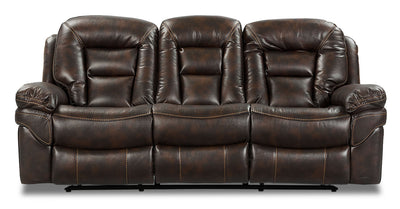Leo Dual Reclining Sofa - Walnut - Contemporary style Sofa in Walnut
