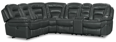 Leo Leath-Aire® Fabric 6-Piece Power Reclining Sectional – Grey - Contemporary style Sectional in Grey