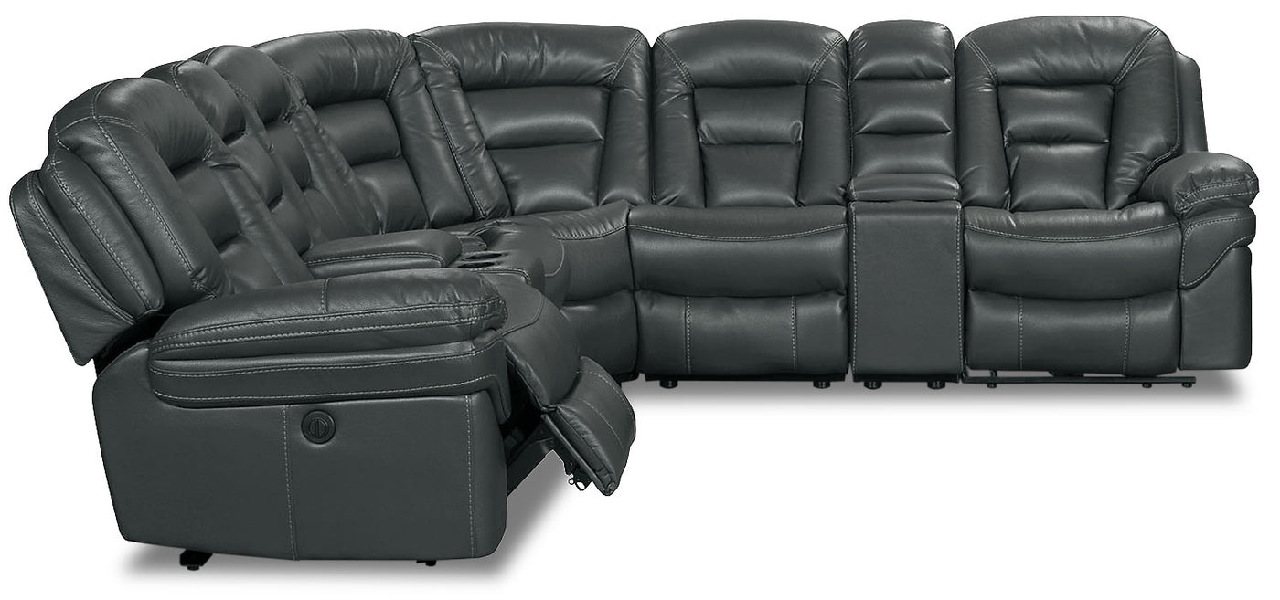 Amazing Leo Leath Aire Fabric 7 Piece Power Reclining Sectional Grey Bralicious Painted Fabric Chair Ideas Braliciousco