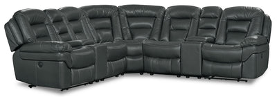 Leo Leath-Aire® Fabric 7-Piece Power Reclining Sectional – Grey - Contemporary style Sectional in Grey