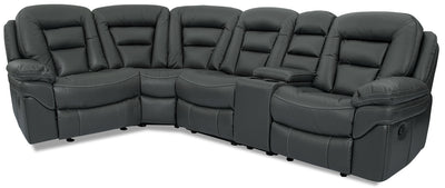 Leo Leath-Aire® Fabric 5-Piece Reclining Sectional – Grey|Sofa sectionnel à inclinaison Leo 5 pièces en tissu Leath-Aire avec console - gris|LEOGRRS5