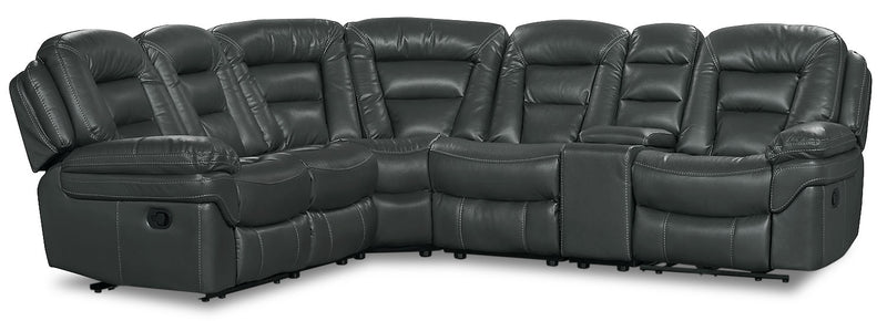 Leo Leath-Aire® Fabric 6-Piece Reclining Sectional – Grey|Sofa sectionnel à inclinaison électrique Leo 6 pièces en tissu Leath-Aire - gris|LEOGRYS6