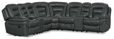 Leo Leath-Aire® Fabric 7-Piece Reclining Sectional – Grey - Contemporary style Sectional in Grey