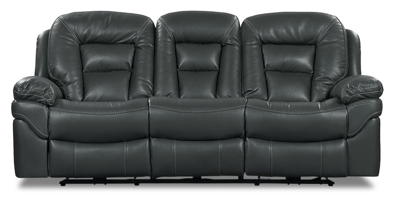 Leo Leath-Aire® Fabric Reclining Sofa – Grey - Contemporary style Sofa in Grey