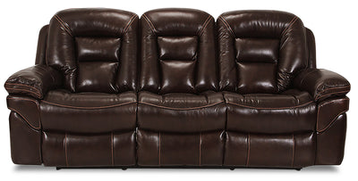Leo Genuine Leather Power Reclining Sofa – Walnut - Contemporary style Sofa in Brown