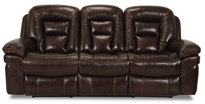 Leo Genuine Leather Reclining Sofa – Walnut - Contemporary style Sofa in Brown