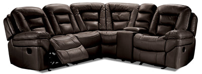 Leo Leath-Aire™ 5-Piece Reclining Sectional with Console – Walnut - Contemporary style Sectional in Walnut
