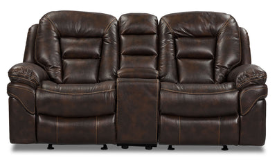 Leo Leath-Aire® Fabric Power Reclining Loveseat – Walnut - Contemporary style Loveseat in Walnut