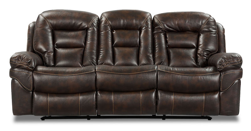 Leo Leath-Aire® Fabric Power Reclining Sofa – Walnut|Sofa à inclinaison électrique Leo en tissu Leath-Aire - noyer|LEOWALPS