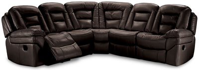 Leo Leath-Aire® Fabric 5-Piece Power Reclining Sectional – Walnut - Contemporary style Sectional in Walnut