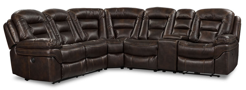 Leo Leath-Aire® Fabric 6-Piece Power Reclining Sectional – Walnut - Contemporary style Sectional in Walnut
