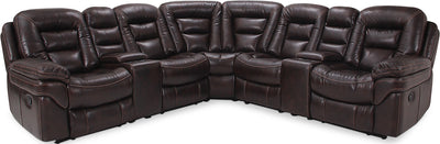 Leo Leath-Aire® Fabric 7-Piece Power Reclining Sectional – Walnut - Contemporary style Sectional in Walnut