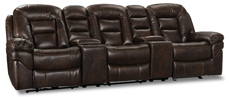 Leo Leath-Aire® Fabric 5-Piece Power Reclining Home Theatre Sectional – Walnut - Contemporary style Sectional in Walnut