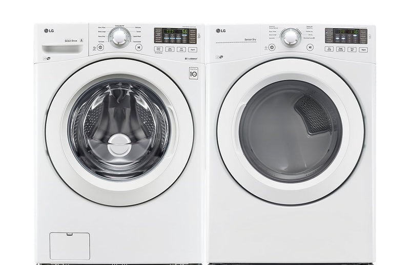 LG Front-Load 5 Cu. Ft. Washer and 7.4 Cu. Ft. Dryer – White|Laveuse intelligente à chargement frontal de 5 pi3 et sécheuse de 7,4 pi3 de LG  - blanches