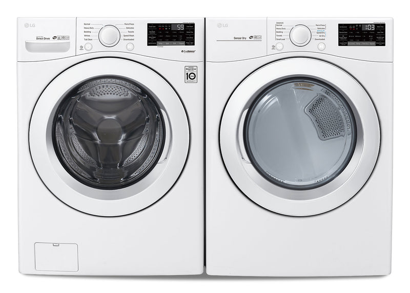 LG Wi-Fi Enabled Smart Front-Load 5.2 Cu. Ft. Washer and 7.4 Cu. Ft. Dryer – White|LGFL3090