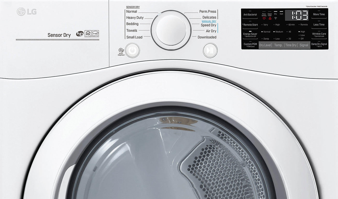 LG Wi-Fi Enabled Smart Front-Load 5 2 Cu  Ft  Washer and 7 4 Cu  Ft  Dryer  – White