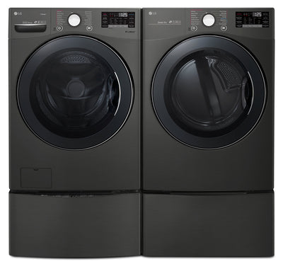 LG 5.2 Cu. Ft. Washer and 7.4 Cu. Ft. Dryer with TWINWash™ Pedestal Washer and Storage Pedestal - Laundry Set in Black Steel