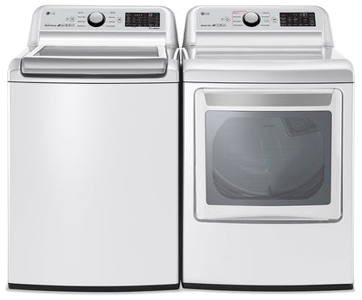 LG 5.8 Cu.Ft Top-Load Washer and 7.3 Cu. Ft. Electric Dryer with TurboSteam - White - Laundry Set in White
