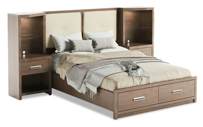 King Pier Bed - {Modern} style Bed in Prairie Storm {Medium Density Fibreboard (MDF)}