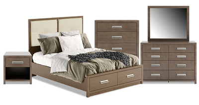 London 7-Piece Queen Panel Bed Package|Ensemble de chambre à coucher London 7 pièces avec grand lit à panneaux|LONDCQP7