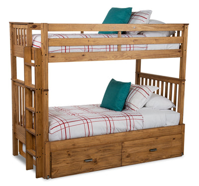 Louise Extendable Twin-Twin Bunkbed - Brown - {Contemporary} style Bunk Bed in Montana Wood {Pine}