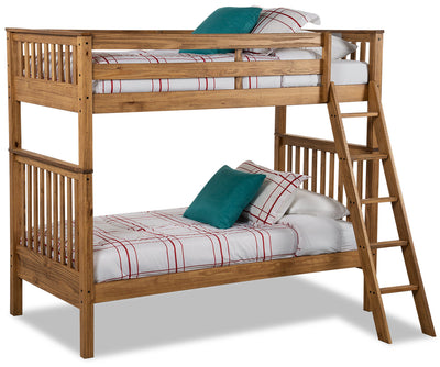 Louise Twin-Twin Bunkbed - Brown - {Contemporary} style Bunk Bed in Montana Wood {Pine}