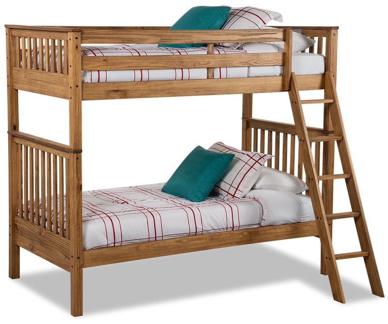 Louise Twin-Twin Bunkbed - Brown|Lits simples superposés Louise - bruns|LOUBTTBK