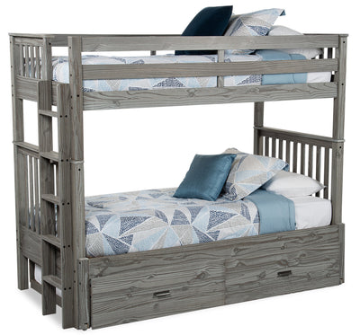 Louise Extendable Twin-Twin Bunkbed - Grey - {Contemporary} style Bunk Bed in Antique Grey {Pine}