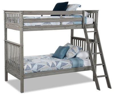 Louise Twin-Twin Bunkbed - Grey - {Contemporary} style Bunk Bed in Antique Grey {Pine}
