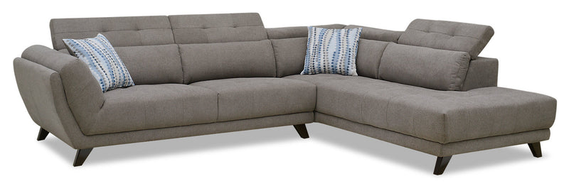Louis 2-Piece Chenille Right-Facing Sectional – Grey|Sofa sectionnel de droite Louis 2 pièces en chenille - gris|LOUGYRS2