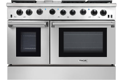 "Thor Kitchen 48"" 6.8 Cu. Ft. Freestanding Double-Oven Gas Range - LRG4801U-SS
