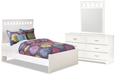 Lulu 5-Piece Full Panel Bedroom Package - Country style Bedroom Package in White