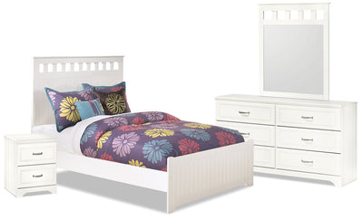 Lulu 6-Piece Full Panel Bedroom Package - Country style Bedroom Package in White