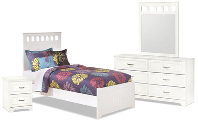 Lulu 6-Piece Twin Panel Bedroom Package - Country style Bedroom Package in White
