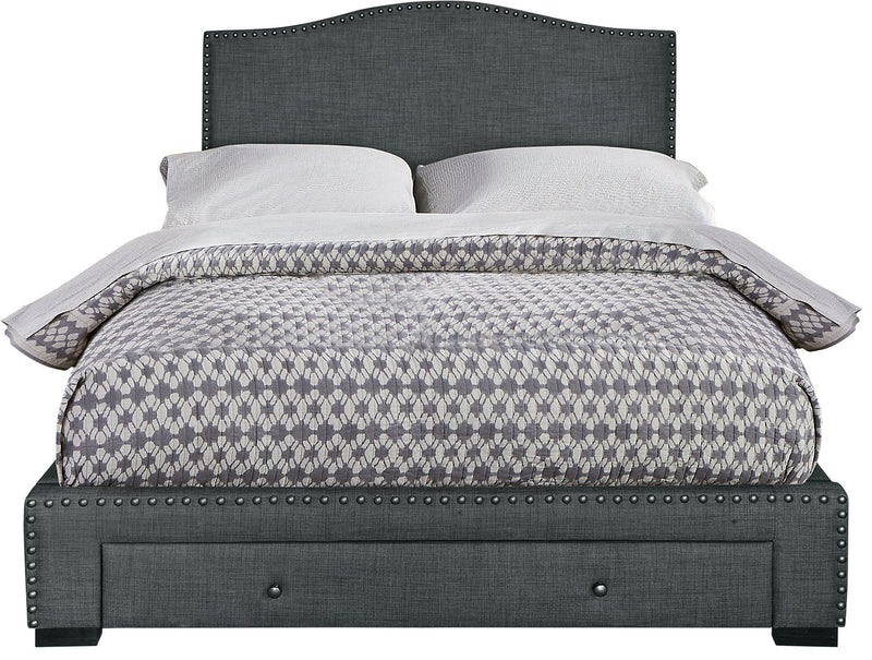 Luxor Queen Bed – Grey|Grand lit Luxor - gris