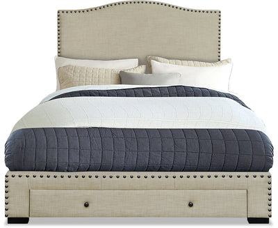 Luxor Queen Bed – Beige - Contemporary style Bed in Beige Polyester