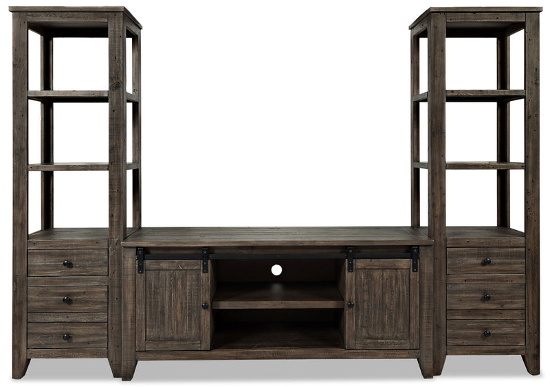 "Madison Barn-Door 3-Piece Entertainment Centre with 60"" TV Opening – Brown