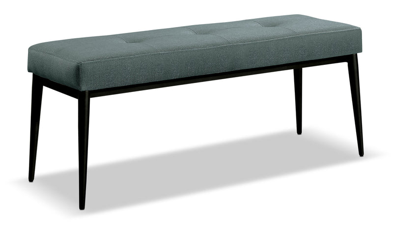 Macsen Dining Bench – Teal - Retro style Dining Bench in Teal Metal and Polyester