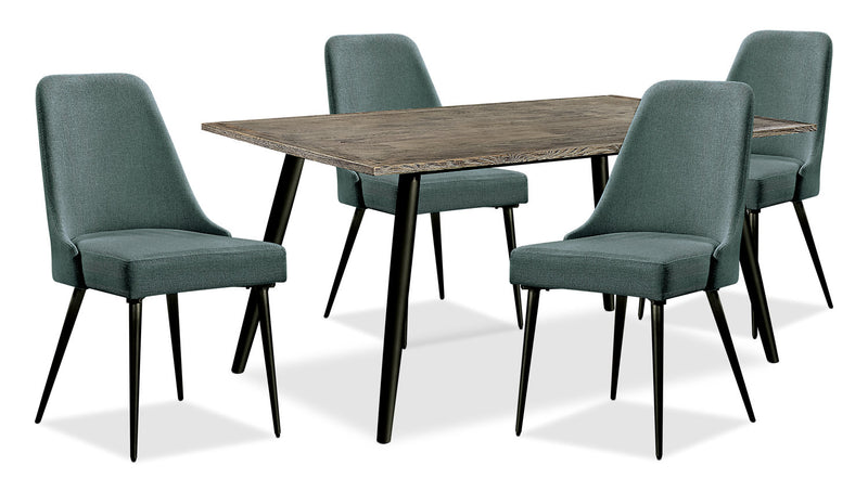 Macsen 5-Piece Dining Package – Teal - Retro style Dining Room Set in Teal Wood/Metal/Upholstery