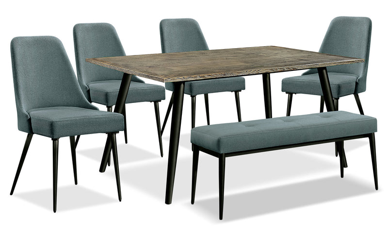 Macsen 6-Piece Dining Package – Teal - Retro style Dining Room Set in Teal Wood/Metal/Upholstery