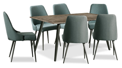 Macsen 7-Piece Dining Package – Teal - {Retro} style Dining Room Set