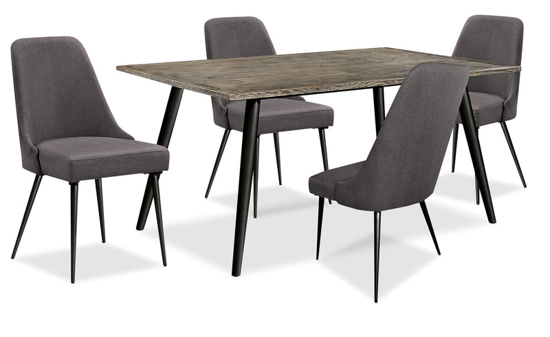 Macsen 5-Piece Dining Package – Grey-Brown - Retro style Dining Room Set in Grey Brown Wood/Metal/Upholstery