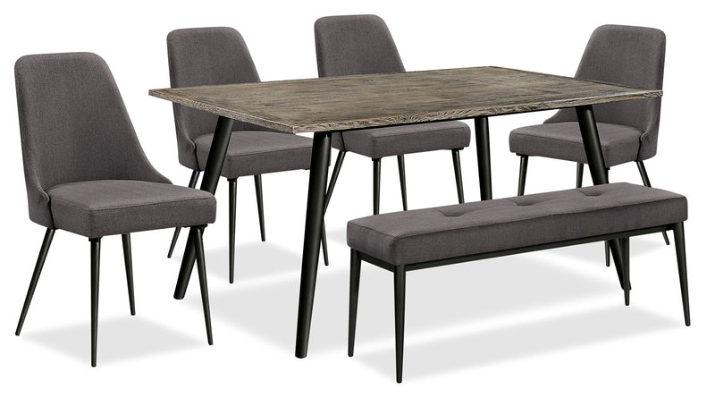 Macsen 6-Piece Dining Package – Grey-Brown - Retro style Dining Room Set in Grey Brown Wood/Metal/Upholstery
