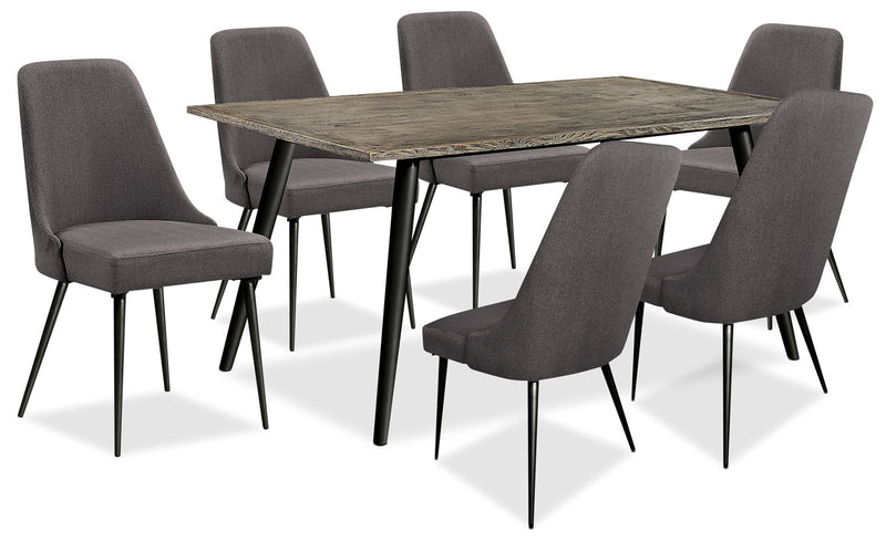 Macsen 7-Piece Dining Package – Grey-Brown - Retro style Dining Room Set in Grey Brown Wood/Metal/Upholstery