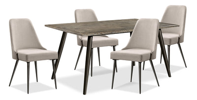 Macsen 5-Piece Dining Package – Beige - Retro style Dining Room Set in Beige Wood/Metal/Upholstery
