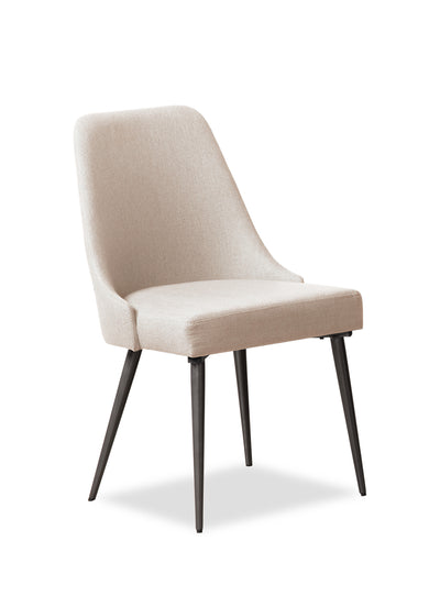 Macsen Dining Chair – Beige - Retro style Dining Chair in Beige Metal and Polyester